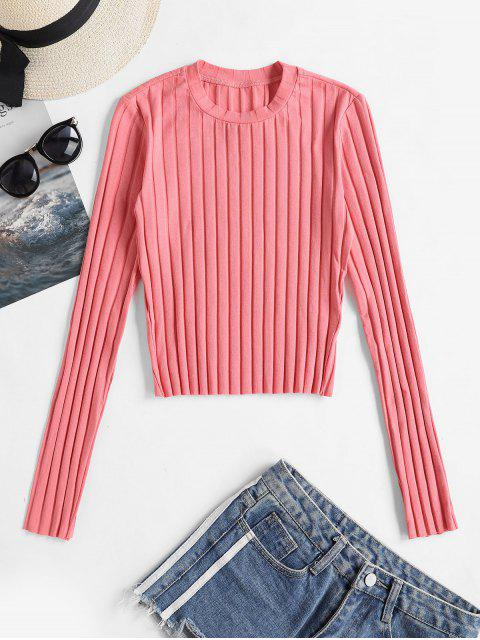 T-Shirt Simple Côtelé Manches Longues à Col Rond - Rose Flamant S Mobile