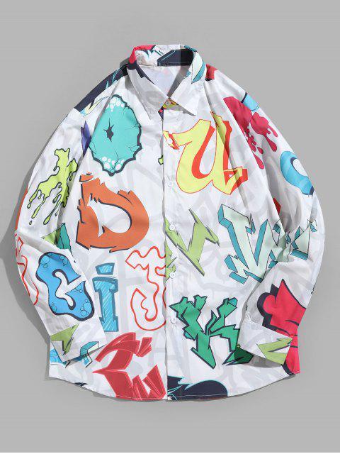 De manga larga de color Carta camisa de la impresión del modelo del botón - Multicolor L Mobile