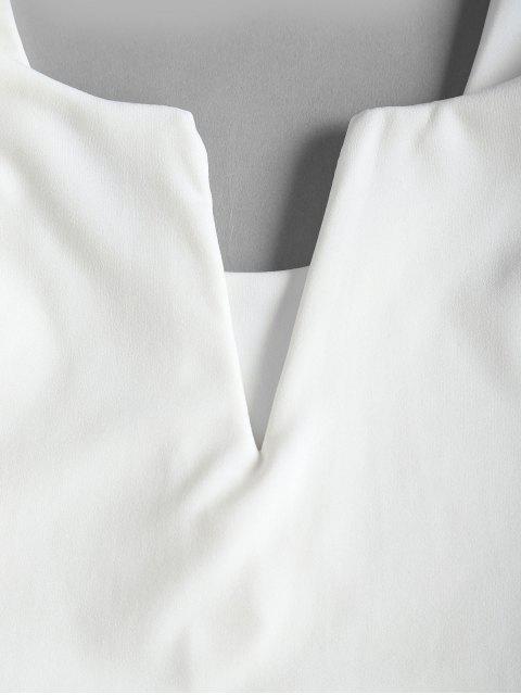 V Fio Cortado Entalhado Regatas - Branco XL Mobile