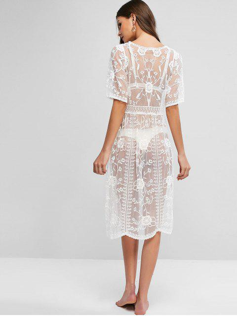 women Tied Floral Lace See Through Cover Up - WHITE ONE SIZE Mobile