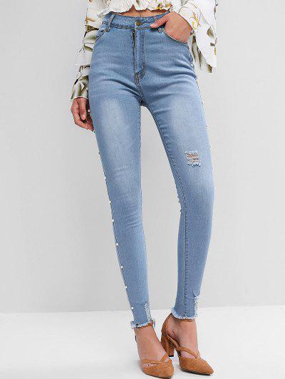 Faux Pearl Trim Distressed Frayed Hem Pencil Jeans - Blue Ivy S