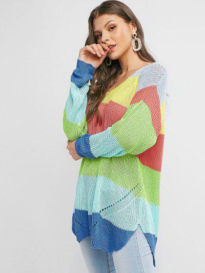 V Neck Color Block Stripes Slit Sweater - Multi-a S