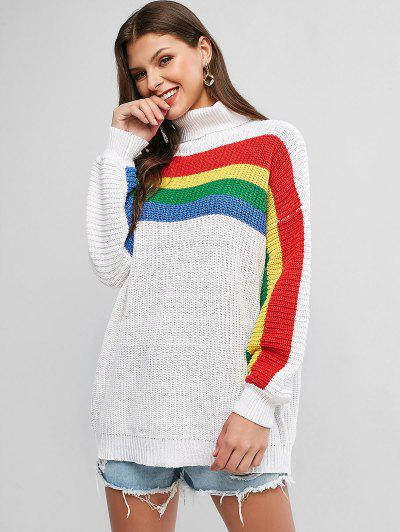 Drop Shoulder Rainbow Stripes Turtleneck Sweater - Milk White M