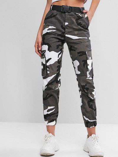 Pantalones Jogger De Cintura Alta Con Cinturón De Camuflaje - Multicolor L