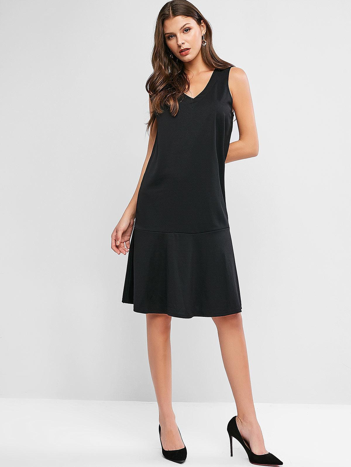 V Neck Flounced Hem Pinafore Casual Dress