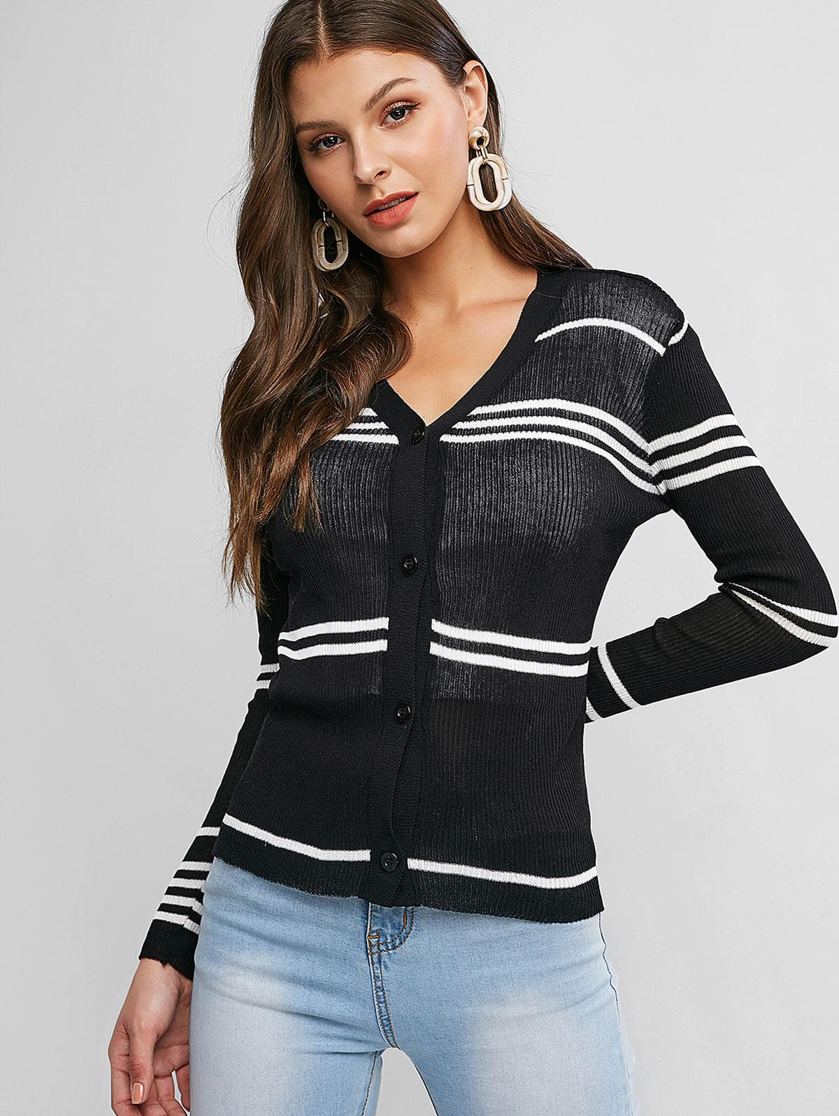 Striped Slim Single Breasted Knit Cardigan