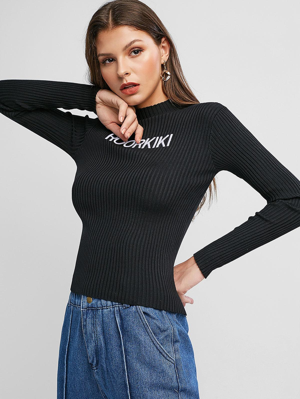 Letter Embroidered Ribbed Slim Sweater