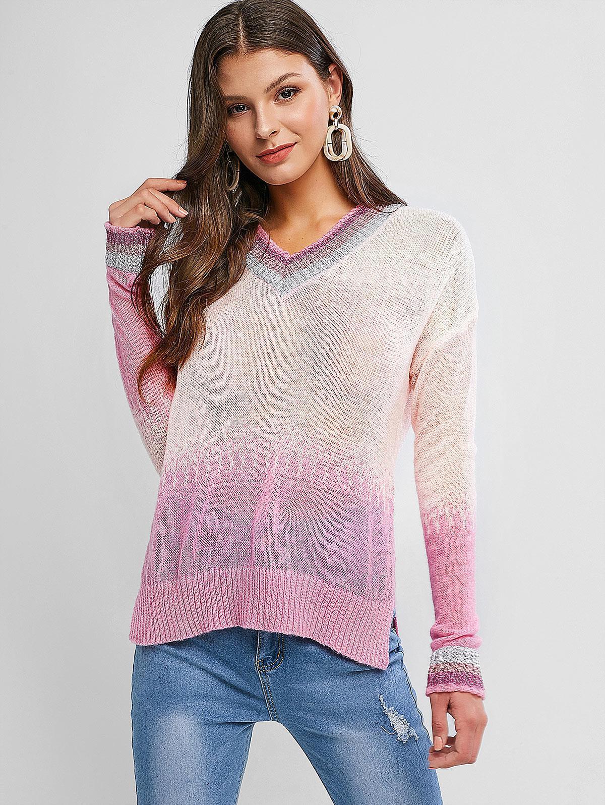 Striped Trim V Neck Gradient Open Knit Sweater