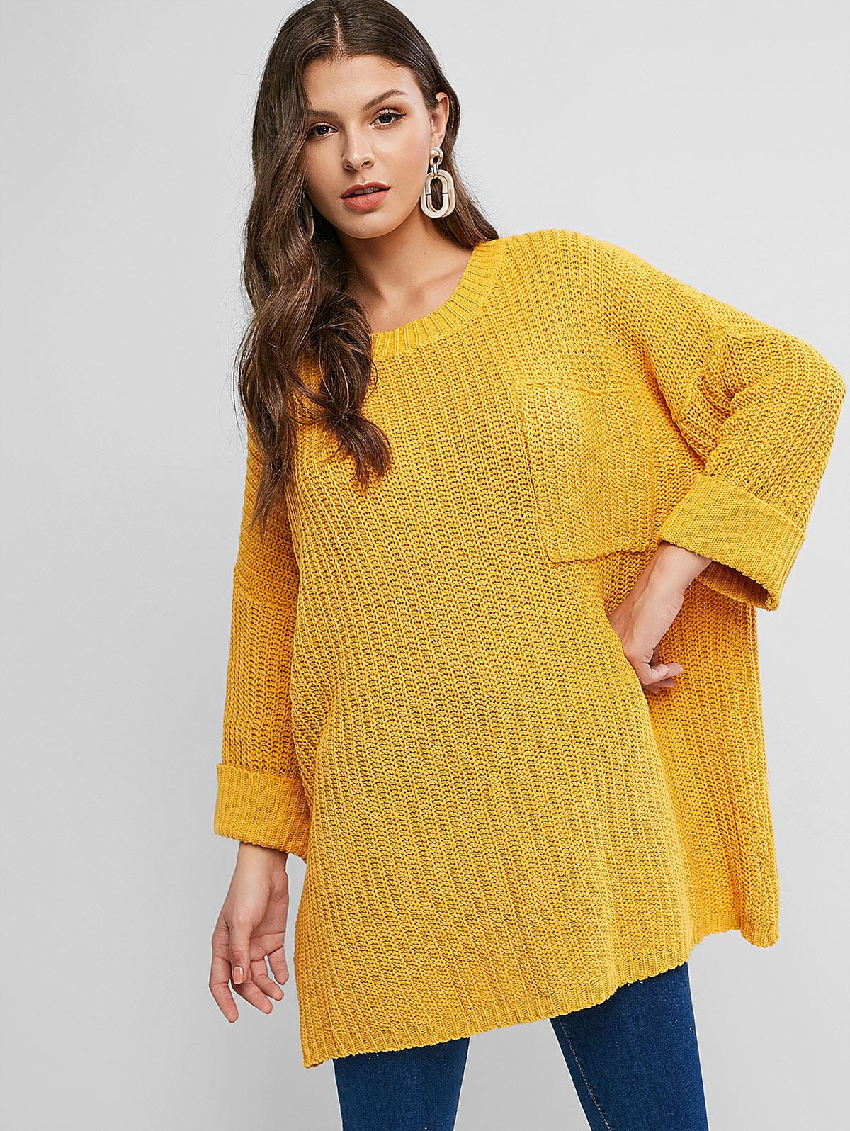 Cuffed Front Pocket Oversized Pullover Sweater