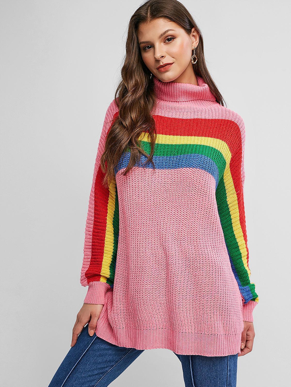 Drop Shoulder Rainbow Stripes Turtleneck Sweater