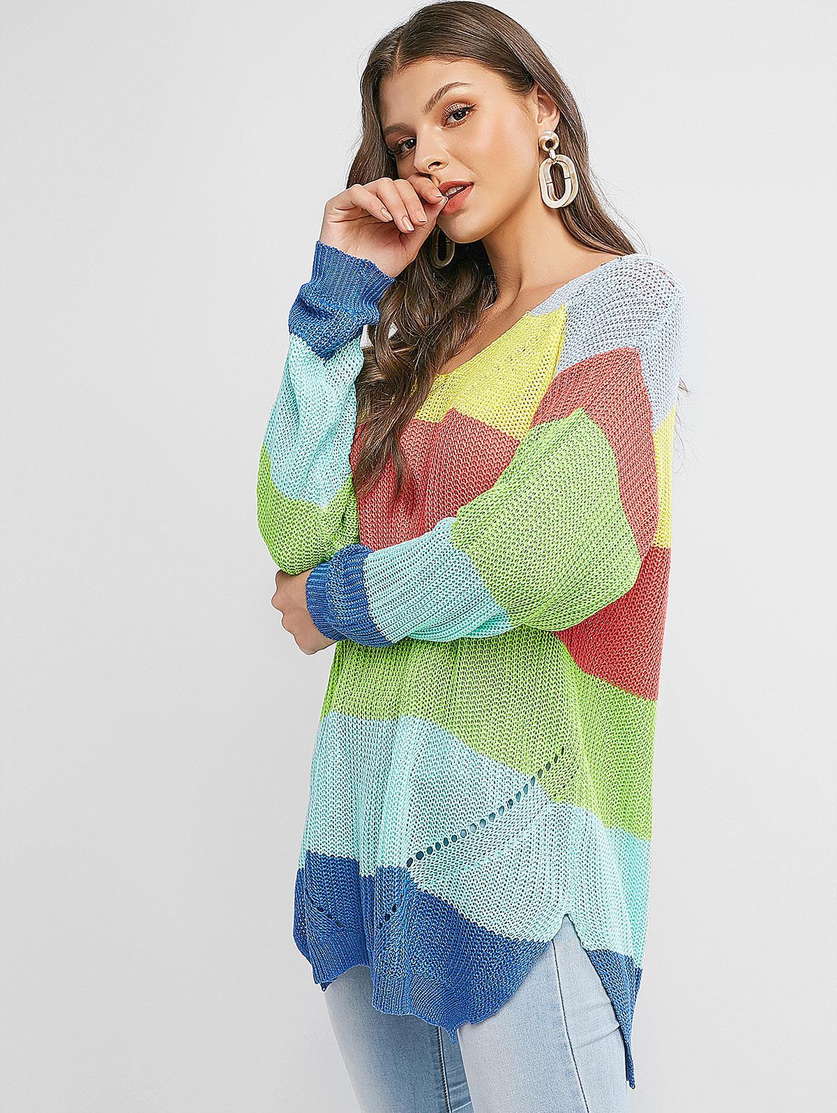 V Neck Color Block Stripes Slit Sweater
