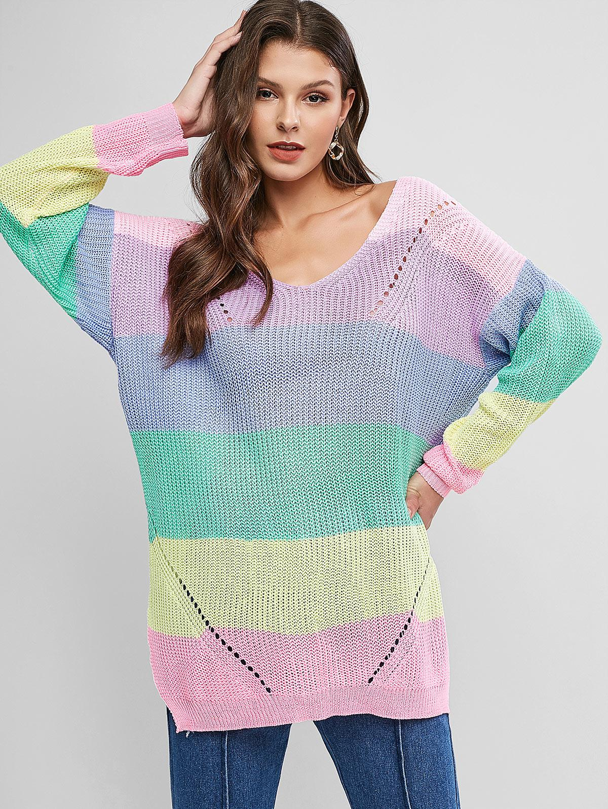 V Neck Color Block Stripes Slit Sweater