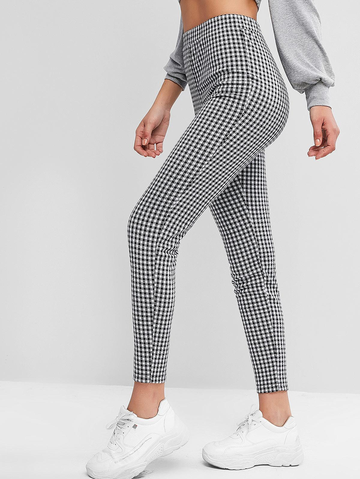 ZAFUL Plaid High Waisted Skinny Leggings