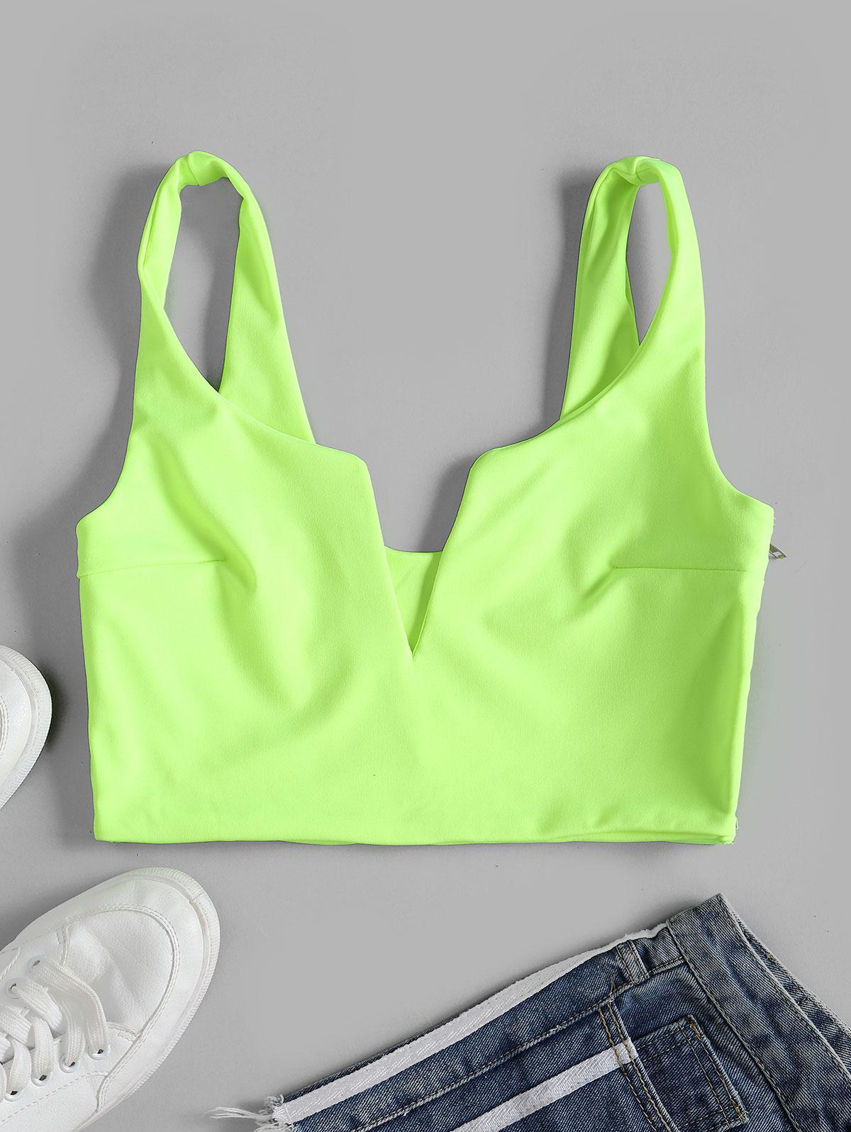 V Wire Crop Notched Tank Top, Green