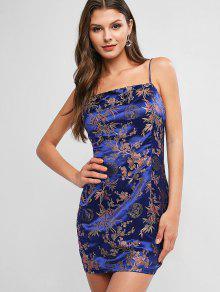 ZAFUL الأزهار جاكار كامي الحرير اللباس Bodycon - اللازورد الأزرق S