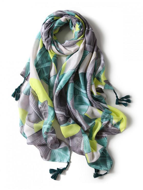 hot Printed Tassels Embellished Long Silk Scarf - CHARTREUSE