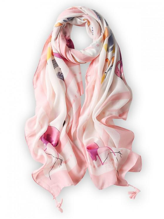 outfits Printed Tassels Embellished Long Silk Scarf - PIG PINK
