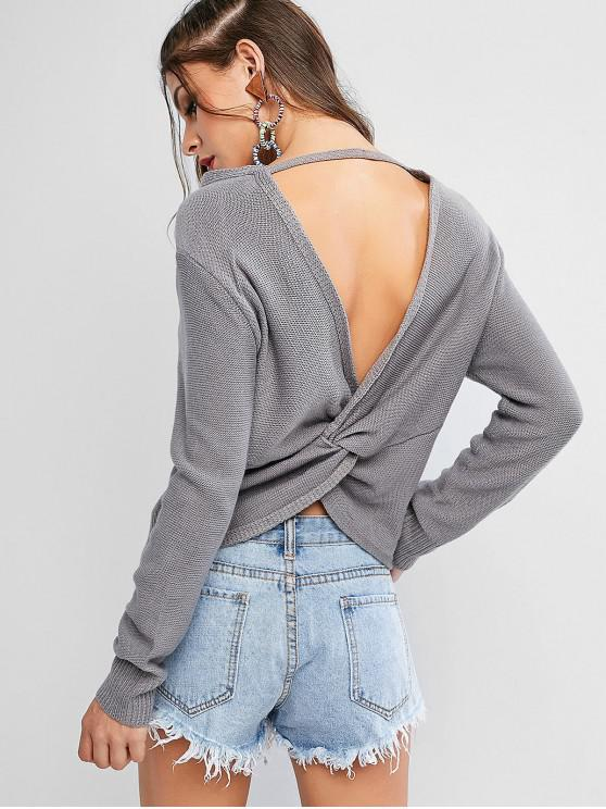 best ZAFUL Pullover Twist Back V Neck Sweater - GRAY S