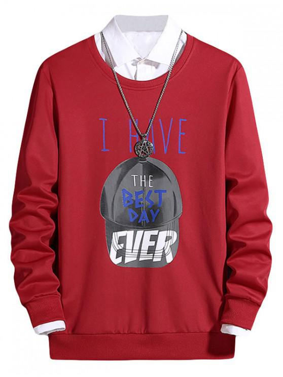 latest Cap Pattern Best Day Letter Graphic Print Pullover Sweatshirt - LAVA RED S
