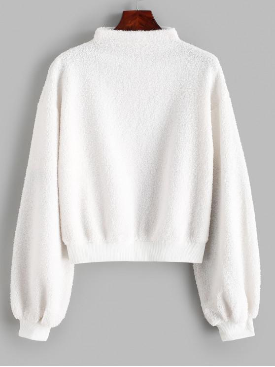 chic ZAFUL Mock Neck Pullover Teddy Sweatshirt - WHITE S