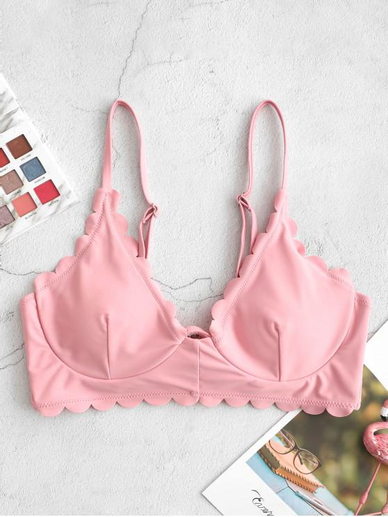 trendy ZAFUL Scalloped Edge Underwire Bikini Top - PINK ROSE M