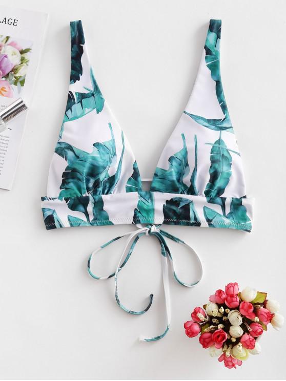 lady ZAFUL Palm Leaf Tie Tropical Bikini Top - WHITE M