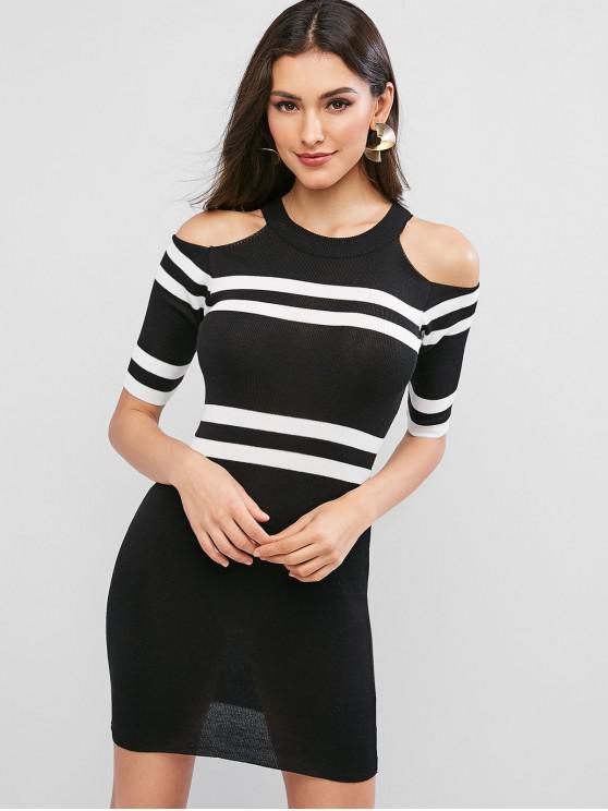 new Striped Crew Neck Cold Shoulder Knit Bodycon Dress - BLACK ONE SIZE