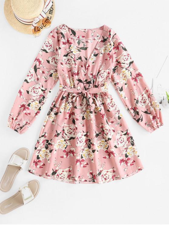 shop Plunge Flower Print Belted Long Sleeve Dress - MULTI-A L