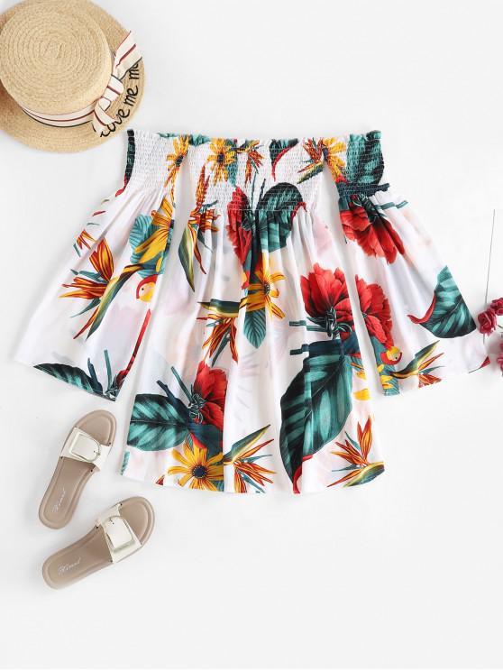 shop Flower Print Off Shoulder Smocked Flare Sleeve Dress - MULTI-A S