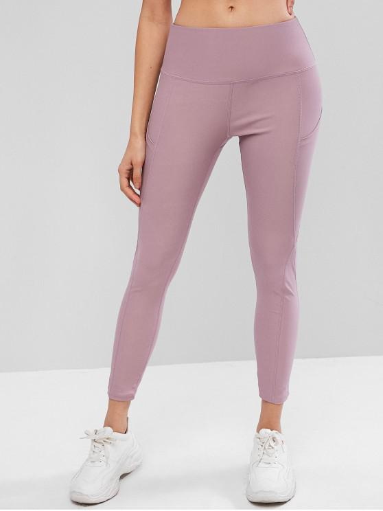 trendy High Waisted Stitching Side Pockets Gym Leggings - LILAC M