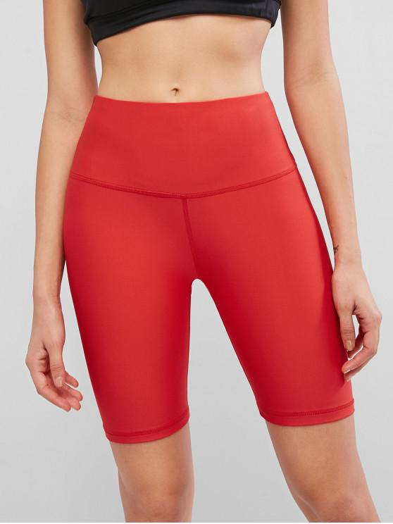 shop Stitching Solid High Waisted Biker Shorts - RED S