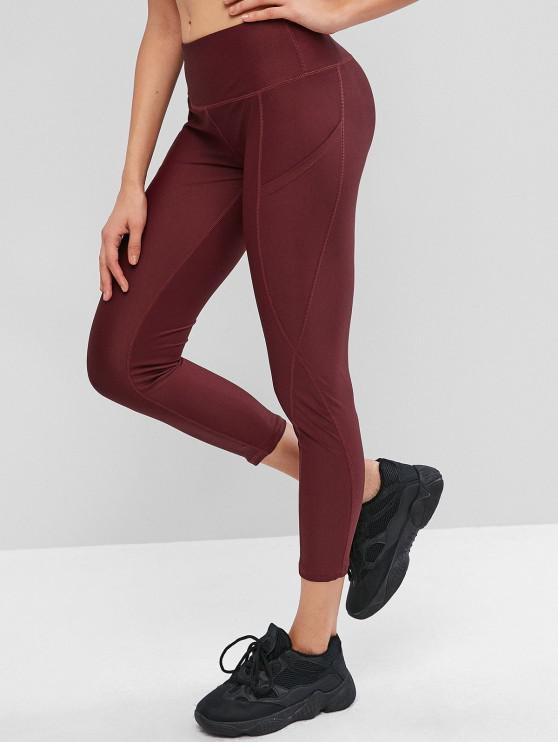 women High Waisted Stitching Side Pockets Gym Leggings - RED WINE S