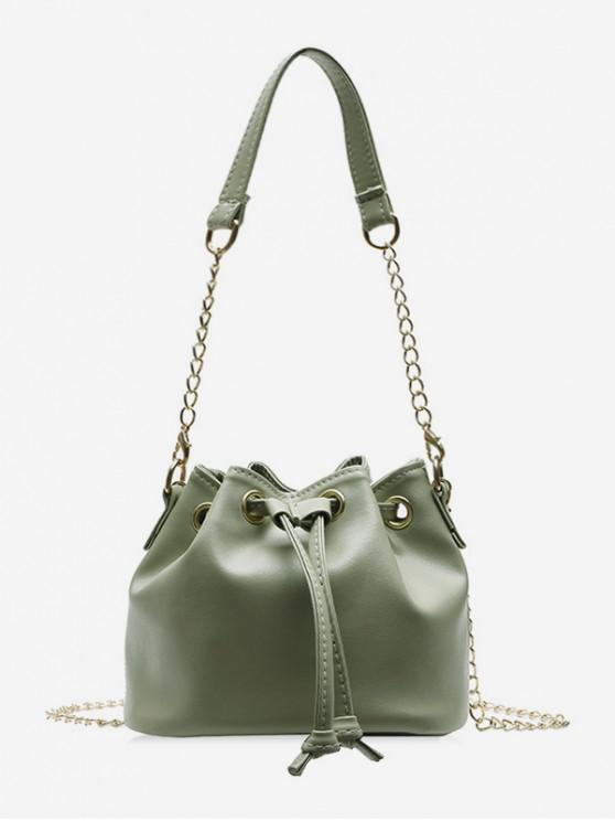 affordable Solid Color PU Leather Drawstring Bucket Bag - DARK SEA GREEN
