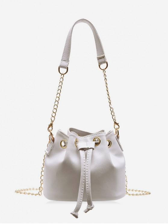 womens Solid Color PU Leather Drawstring Bucket Bag - MILK WHITE