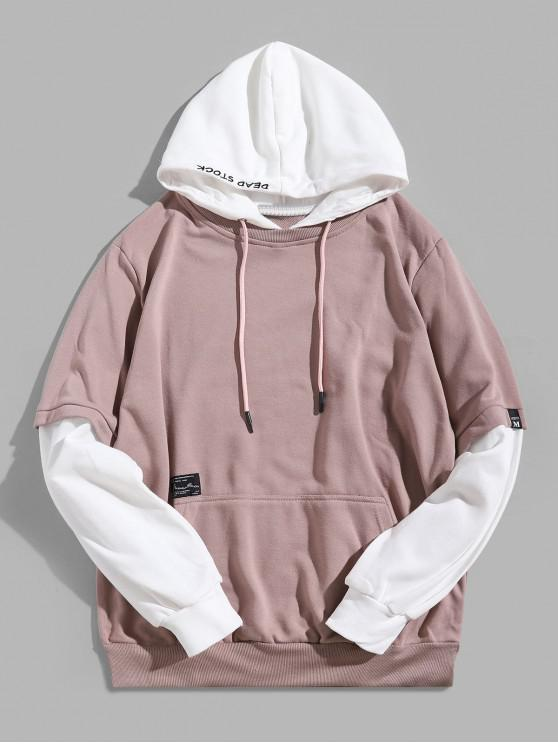 trendy Contrast Faux Twinset Letter Embroidery Drawstring Hoodie - PINK ROSE XS
