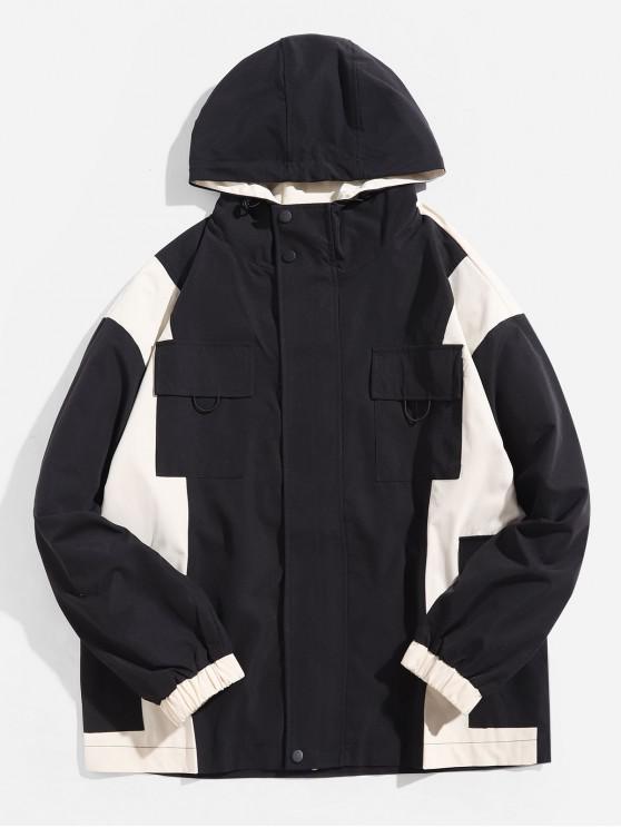 women Letter Graphic Color Block Splicing Flap Pocket Hooded Jacket - BLACK L