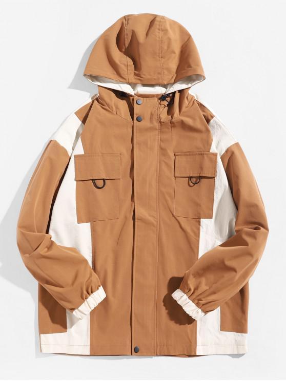 chic Letter Graphic Color Block Splicing Flap Pocket Hooded Jacket - CAMEL BROWN L