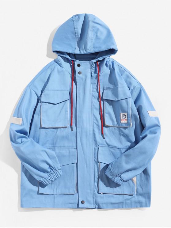 affordable Color Block Spliced Multi-pocket Applique Hooded Jacket - SKY BLUE L