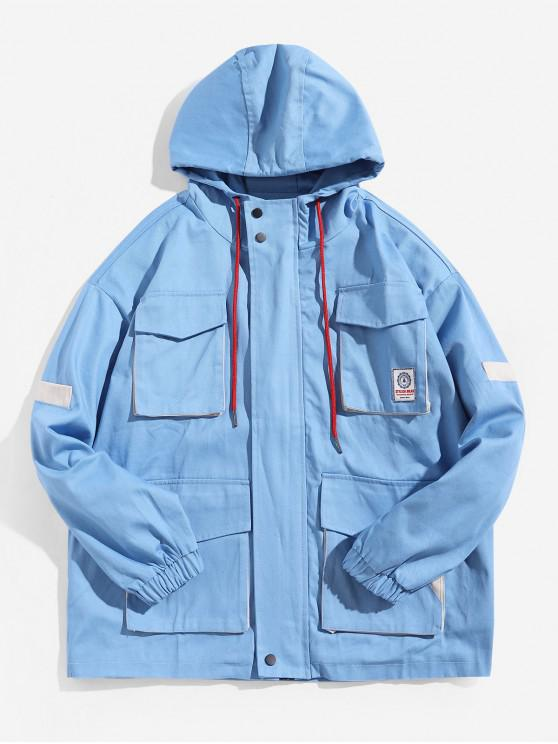 shops Color Block Spliced Multi-pocket Applique Hooded Jacket - SKY BLUE M