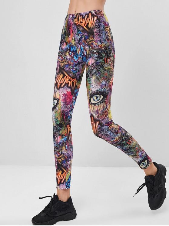 sale Eye Letter Print High Waisted Skinny Leggings - MULTI-A XL