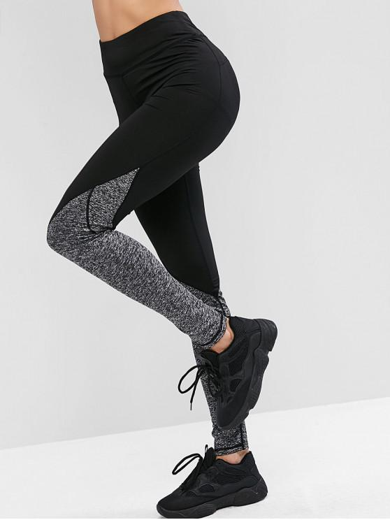 affordable Heather Topstitching High Waisted Leggings - BLACK M