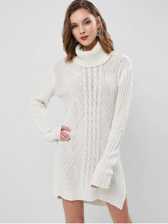 outfit Turtleneck Cable Knit Slit Tunic Sweater Dress - WHITE ONE SIZE