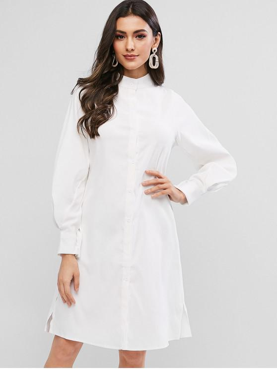 affordable Lantern Sleeve Slit Button Up Shift Shirt Dress - WHITE L