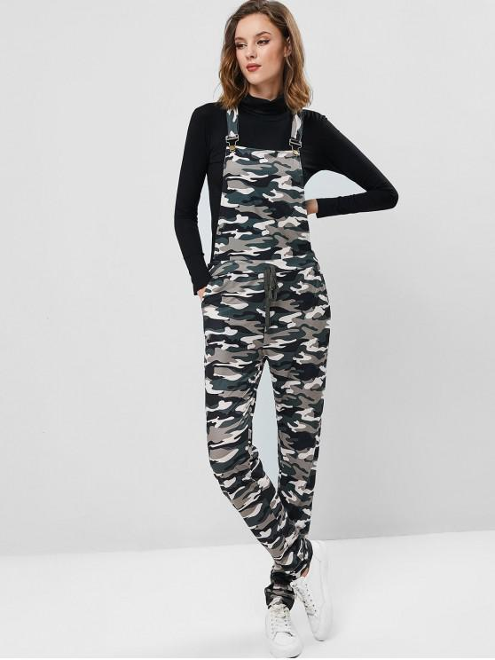 trendy Camouflage Knotted Pinafore Racerback Jumpsuit - ACU CAMOUFLAGE XL