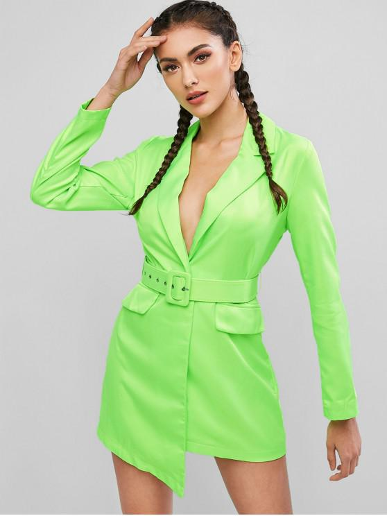 hot Neon Belted One Button Blazer Dress - GREEN YELLOW M