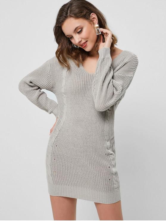 affordable Long Sleeve Cable Knit Sweater Mini Dress - GRAY CLOUD L