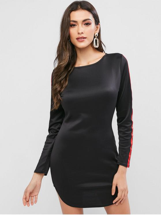 women Long Sleeve Tape Bodycon Curved Short Dress - BLACK S