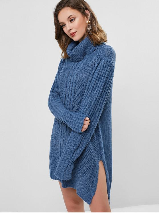 women Turtleneck Cable Knit Slit Tunic Sweater Dress - SILK BLUE ONE SIZE