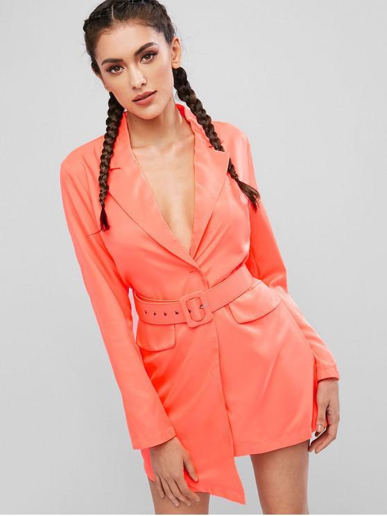 outfit Neon Belted One Button Blazer Dress - ORANGE M