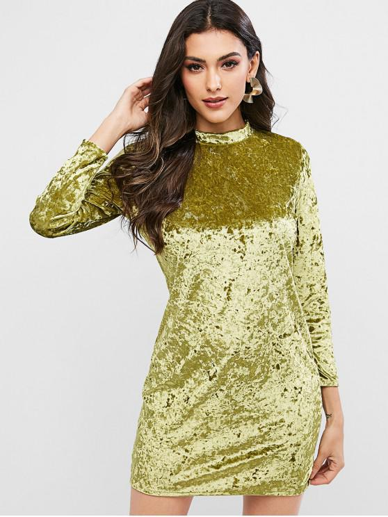 trendy Velvet Long Sleeve Crew Neck Bodycon Dress - CHARTREUSE L